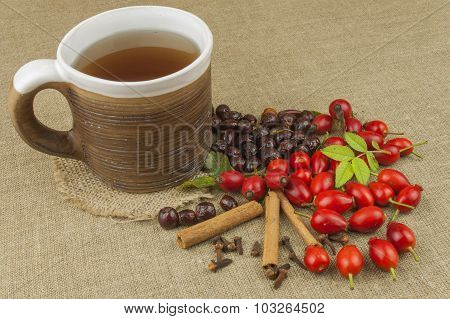 A flu epidemic. Traditional home treatment for colds and flu. Rosehip tea, honey and citrus.