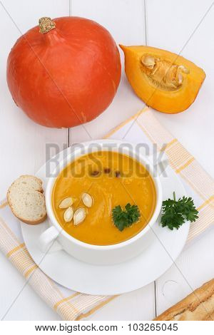 Pumpkin Soup With Baguette In Cup
