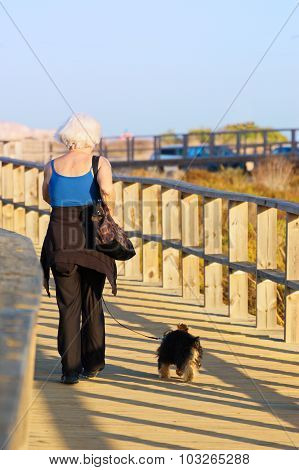 Old woman with her dog