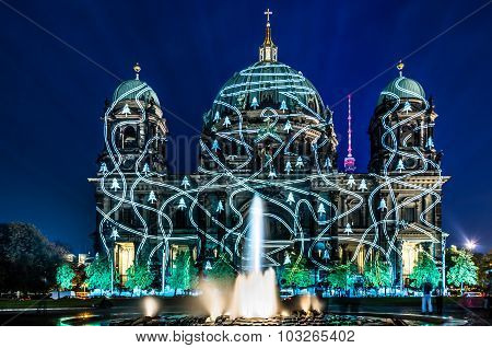 Berliner Dome Illuminated By Colorful Images During The World Famous Festival of Lights