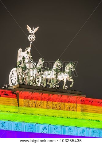Berlin, Germany - October 16: Detail Of The Brandenburg Gate During Festival Of Lights