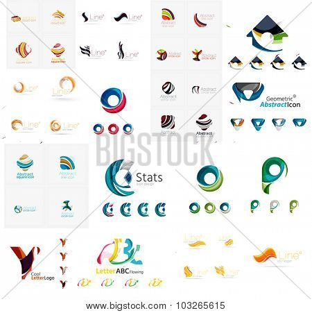 Mega collection of various abstract business emblems. Universal icon set for any idea concepts geometric shapes loops, circles, triangles and letters