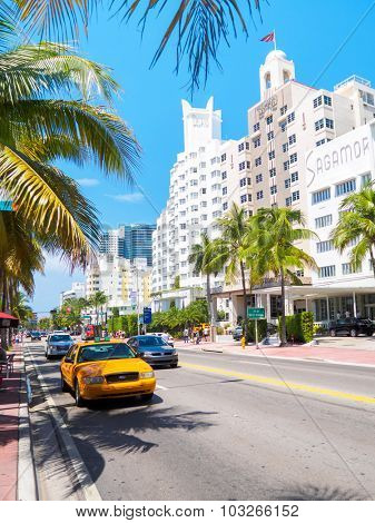MIAMI,USA - AUGUST 8,2015 :  Famous hotels at Collins Avenue in Miami Beach