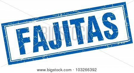Fajitas Blue Square Grunge Stamp On White