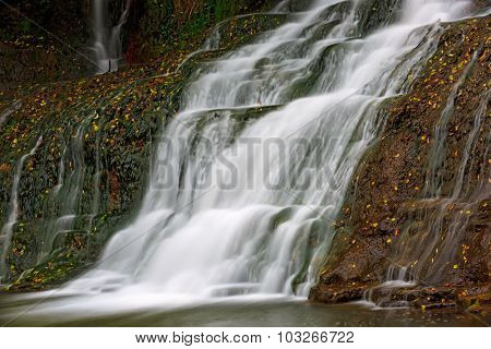 Nice waterfall on mountain river