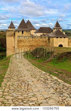 Old pavement to Khotyn castle, Ukraine