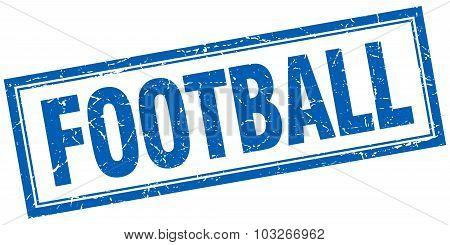 Football Blue Square Grunge Stamp On White
