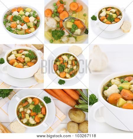 Collection Of Vegetable Soup Meal With Vegetables Soups