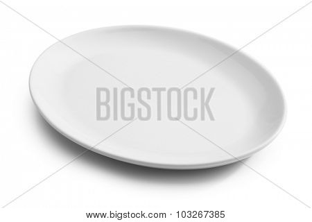 white empty plate isolated on white