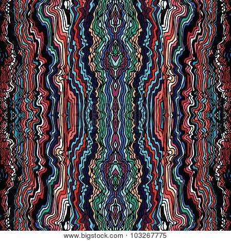 Colorful seamless waves hand-drawn pattern