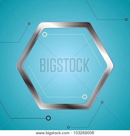 Technology drawing with metal hexagon