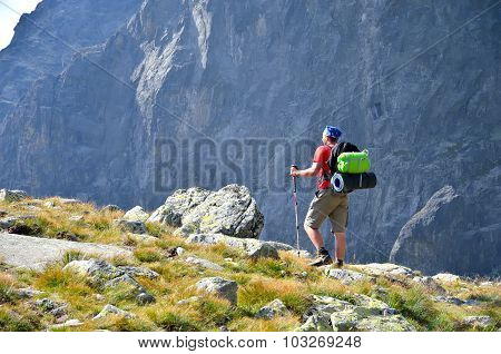 Hiker in mountains.