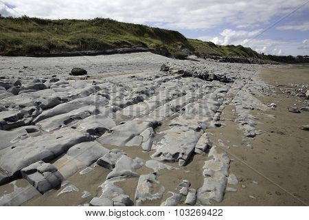 Beds Of Jurassic Lias Stone On Doniford Beach, Exmoor, Uk