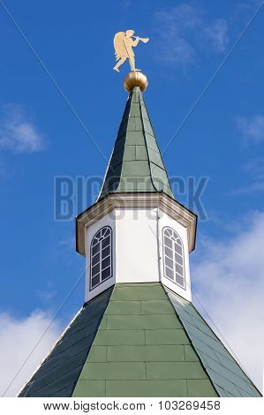 Dome Tower Of Iversky Monastery In Valday Against The Sky