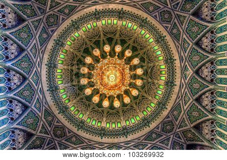 Muscat, Oman - Nov 11: Interior Of The Sultan Qaboos Grand Mosque