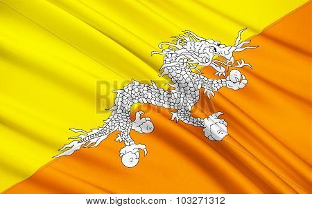 Flag Of The Kingdom Of Bhutan