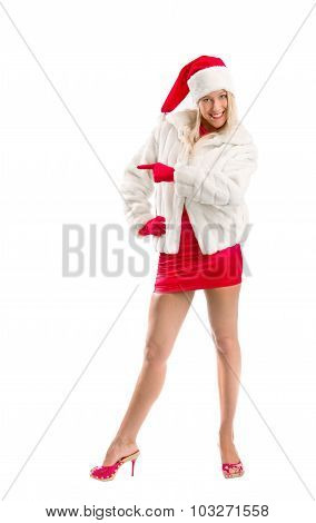 Dressed As Santa Claus Pointing Advertising Space