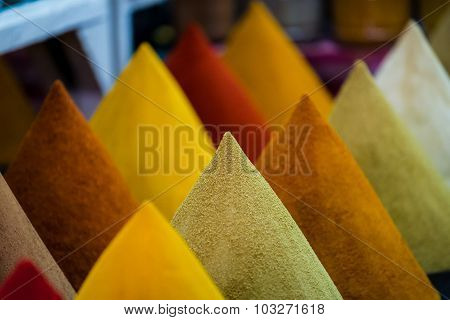 Piles Of Spices On A Moroccan Market