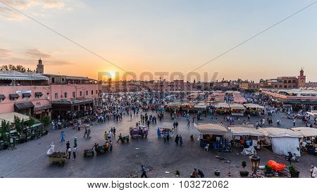 Marrakech, Morocco - Circa September 2015 - Sunrise Over djemaa el fna