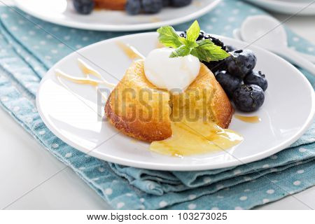 White chocolate lava cake