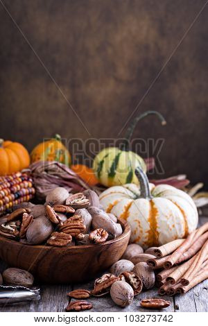 Pumpkins, nuts, indian corn and variety of squash