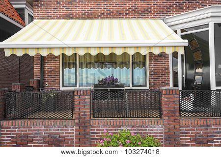 Porch brick building.