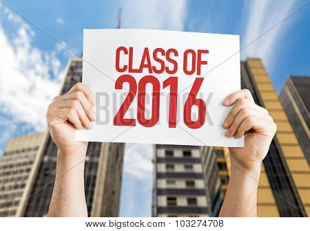 Class of 2016 placard with cityscape background