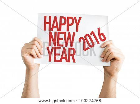 Happy New Year 2016 placard isolated on white