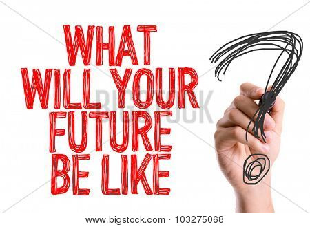 Hand with marker writing: What Will Your Future Be Like?