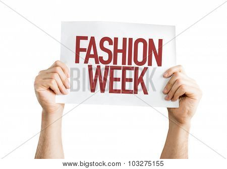 Fashion Week placard isolated on white