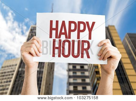 Happy Hour placard with cityscape background