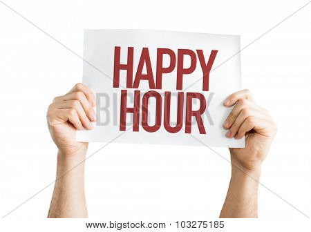 Happy Hour placard isolated on white