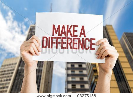 Make a Difference placard with cityscape background