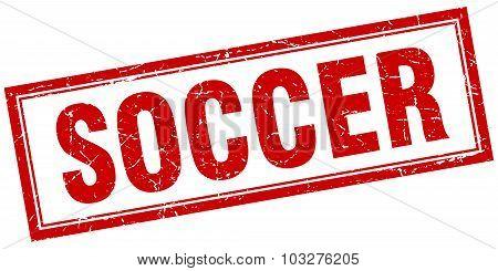 Soccer Red Square Grunge Stamp On White