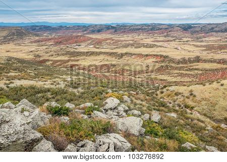 rugged terrain with rocks, cliffs and canyons in Red Mountain Open Space in northern Colorado near Fort Collins