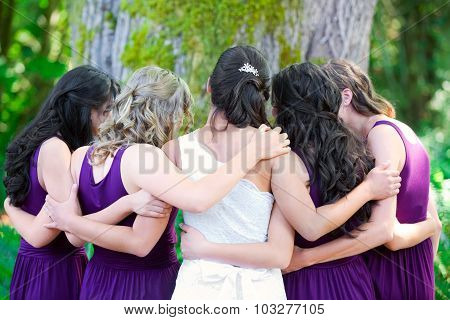 Beautiful Biracial Young Bride With Her Multiethnic Group Of Bridesmaids
