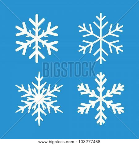 Collection Of White Snowflakes And Blue Background.
