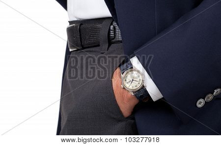 Close up of a man's hand wearing a watch