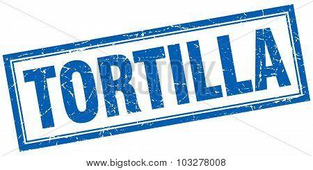 Tortilla Blue Square Grunge Stamp On White