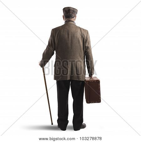 Suitcase and stick