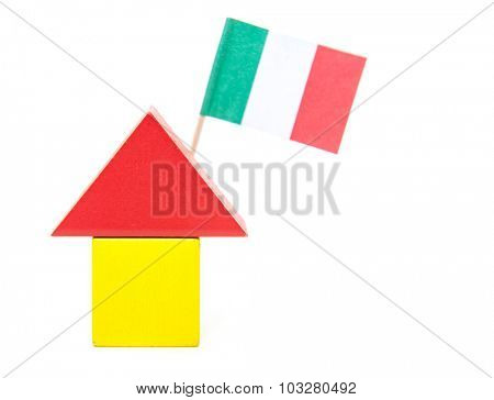 Stylized home with italian flag. All on white background