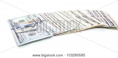 Various dollar notes. All on white background