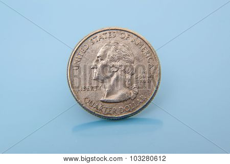 Single used quarter dollar coin
