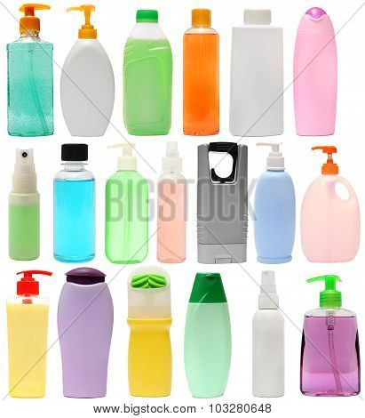 cleaning equipment .19 colored plastic bottles with Detergent is