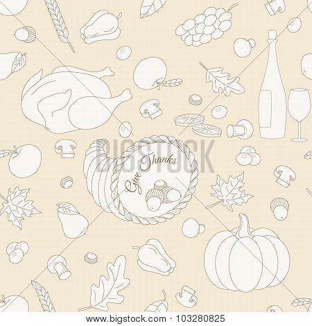 Set of hand drawn Thanksgiving elements