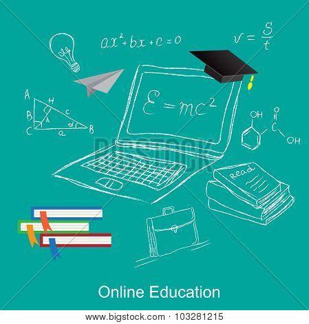online education, flat vector illustration, apps, banner, sketch, hand drawn