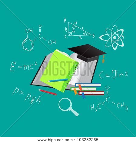Vector, education, science, icons, flat vector illustration, apps, banner, sketch