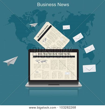 business news, flat vector illustration, apps, banner