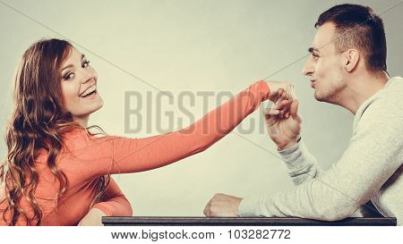 Man Husband Kissing Woman Hand. Love Couple.
