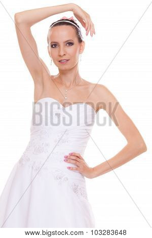 Alluring Pretty Woman Bride In White Wedding Dress